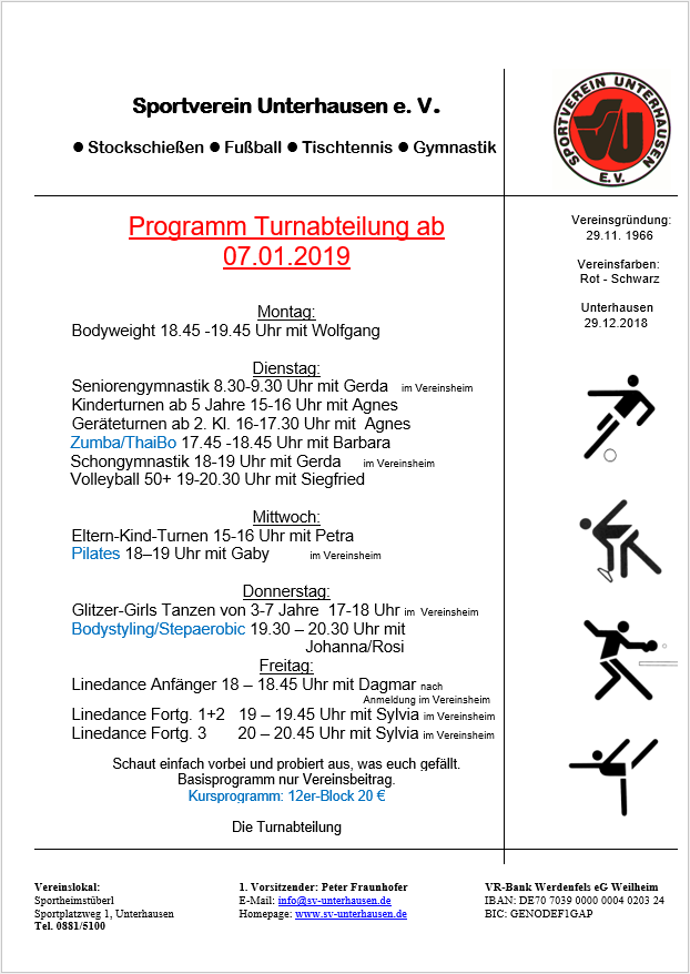 Turnprogram Januar 2019